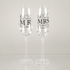 Set Of 2 Happy 60th Wedding Anniversary Glass Champagne Flutes In Gift Box