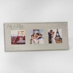 "Mr & Mrs Triple Mirror Effect & Glitter Wedding Day Photo Frame 5.5"" x 12"""
