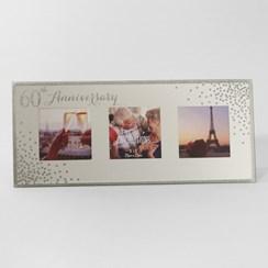 "Diamond 60th Anniversary Triple Mirror Effect & Glitter Photo Frame 5.5"" x 12"""