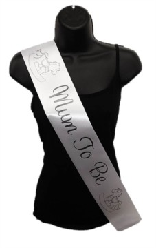 White Mum To Be Baby Shower Party Satin Ribbon Sash - Black Rocking Horse