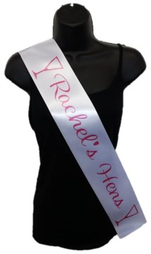 White Personalised Hen Party Girls Night Out Satin Ribbon Sash - Pink Glasses