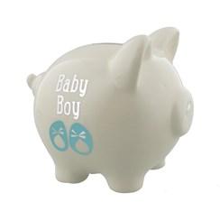 "Ivory Baby Boy Ceramic My First Piggy Bank Gift 4.75"" x 5"" - Birth, Christening"