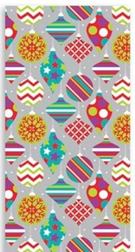 10m (2 x 5m) Modern Christmas Gift Wrapping Paper - Silver with Bright Baubles