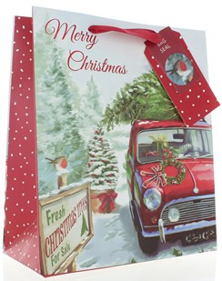 """Medium Christmas Gift Bag - Car with Tree on Roof & Red Foil  10x8.5"""""""