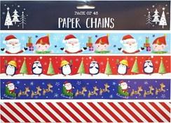 Pack 48 Christmas Paper Chains Decorations 4 Designs -Santa Penguin Stripes 12ft