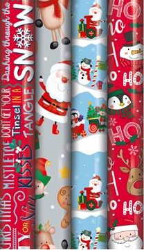 20m (4 x 5m) Christmas Gift Wrapping Paper Roll - Children's Mixed Designs