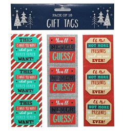 Pack Of 18 Christmas Stick & Peel Gift Tags - Slogan Tags With Foil & Glitter