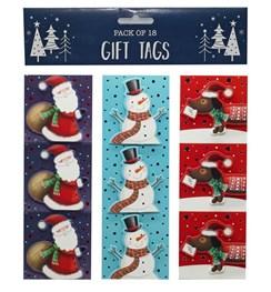 Pack of 18 Christmas Stick & Peel Gift Tags - Santa, Snowman & Sausage Dog