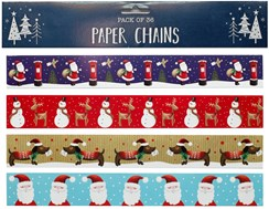Pack 36 Christmas Paper Chains Decorations 4 Designs - Santa Snowman Dog 8ft