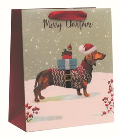 """Medium Christmas Gift Bag - Sausage Dog in Jumper & Hat with Gift  10x8.5"""""""