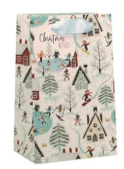 "Small Christmas Gift Bag - Alpine Ski Village Scene with Glitter 8"" x 5"""
