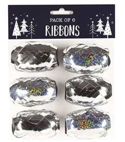 Pack of 6 Gift Wrapping Ribbons Cops - Silver Metallic Holographic