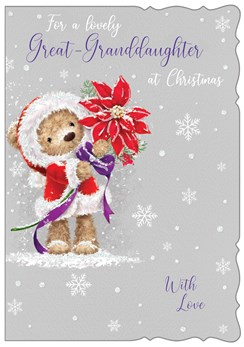 """Great Granddaughter Christmas Card-Bear In Santa Dress with Poinsettia 7.5x5.25"""""""
