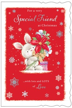 """Friend Christmas Card - Bunny with Poinsettia & Gifts with Foil 9"""" x 6"""""""