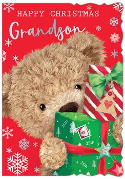 """Grandson Christmas Card - Bear with Gifts Snowflakes & Silver Foil 7.5 x 5.25"""""""