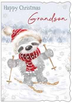 "Grandson Christmas Card - Koala Bear Skiing with Glitter 7.5"" x 5.25"""
