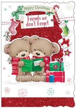 """Friends Christmas Card - Knitted Bears Carol Singing with Red Glitter 7.5""""x5.25"""""""