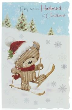 Husband Christmas Card -Cute Santa Bear Skiing With Silver Snowflakes 10.75x6.75