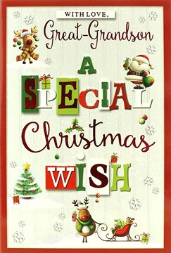 """Great Grandson Christmas Card - Cute Santa, Rudolph, Tree & Sleigh 7.5"""" x 5.25"""""""