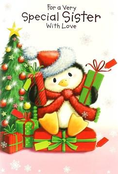"Sister Christmas Card - Cute Penguin, Xmas Tree & Bright Presents 7.5"" x 5.25"""