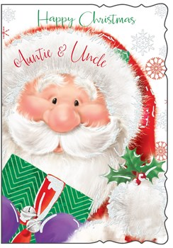 """Auntie & Uncle Christmas Card - Cute Santa Claus, Present & Holly 7.75"""" x 5.25"""""""