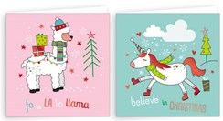 "Pack Of 20 Mini Square Christmas Cards with Foil - Unicorn & Llama 4""x4"""