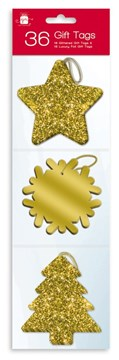 Pack Of 36 Luxury Glitter Foiled Christmas Gift Tags & Metallic Thread - Gold