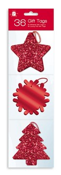 Pack Of 36 Luxury Glitter Foiled Christmas Gift Tags & Metallic Thread - Red
