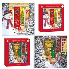 Pack of 12 Scenic Christmas Cards - Scenic Front Door Snowman Dog and Gold Foil