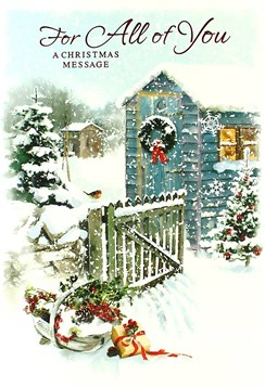 "All Of You Christmas Card - Traditional Big Blue Shed, Robin & Gate 7.5"" x 5.25"""