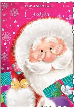 "Cousin Christmas Card - Cute Pink Santa Claus, Bells & Presents 7.75"" x 5.25"""