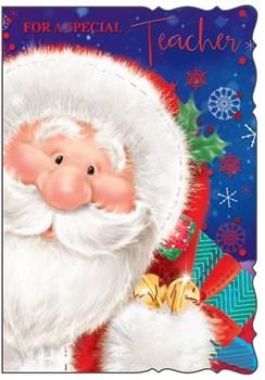 """Teacher Christmas Card - Cute Blue Santa Claus, Bells & Presents 7.75"""" x 5.25"""""""