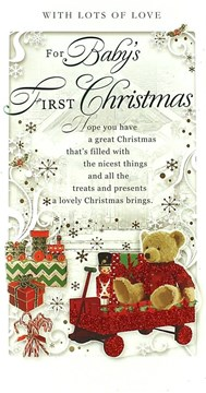 """Baby's First Christmas Card - Traditional Teddy Bear, Soldier & Cart 9"""" x 4.75"""""""