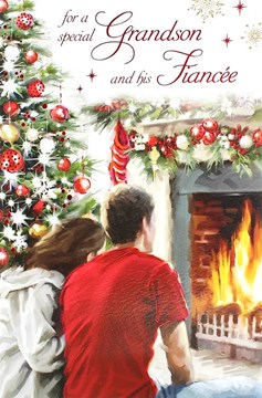 "Grandson & Fiancee Christmas Card - Traditional Couple, Tree & Fireplace 9"" x 6"""