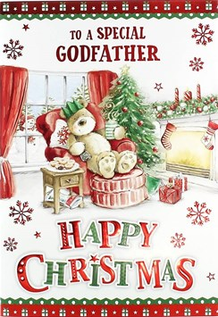 Godfather Christmas Card Cute Bear in Chair by Fireplace with Red Foil 7.5x5.25""