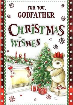 "Godfather Christmas Card - Cute Bear, Fireplace, Xmas Tree & Gifts 7.5"" x 5.25"""