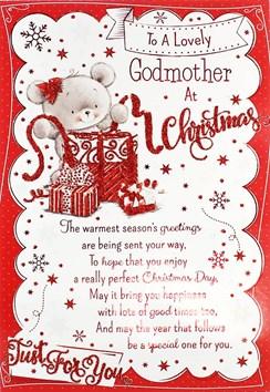 "Godmother Christmas Card - Cute Grey Bear, Presents, Ribbon & Stars 7.5"" x 5.25"""