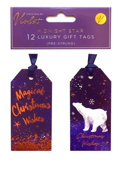 Pack of 12 Luxury Pre Strung Christmas Gift Tags - Polar Bear Midnight Star