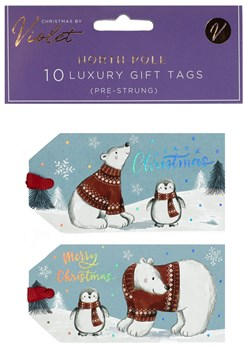 Pack of 10 Pre Strung Christmas Gift Tags - Polar Bear and Penguin Silver Foil