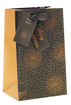 """Small Christmas Gift Bag - Black with Gold Copper Foil Halo Dots 8"""" x 5"""""""