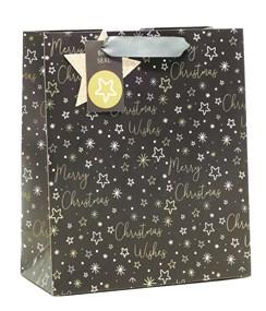 "Medium Christmas Gift Bag - Black Merry Christmas with Gold Silver Stars 10x8.5"""