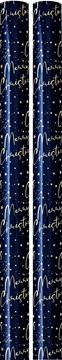 8m Christmas Gift Wrapping Paper 4x4m Roll Cutting Guide - Midnight Blue Gold
