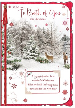 "Both Of You Christmas Card - Traditional Winter Woodland & Deer 7.75"" x 5.25"""