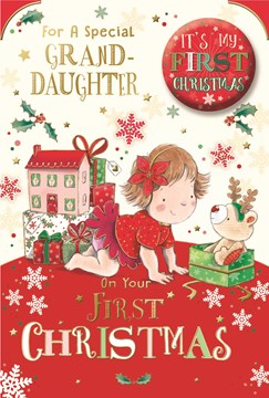 """Granddaughter's 1st Christmas Card & Badge - Girl with Gifts & Doll House  9""""x6"""""""