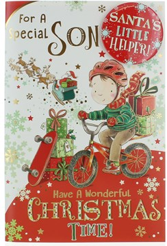 "Son Christmas Card & Badge - Boy On A Bike With Gifts & Gold Foil  9"" x 6"""