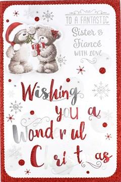 """Sister & Fiance Christmas Card - Cute Grey Bears, Present & Mistletoe 9"""" x 6"""""""