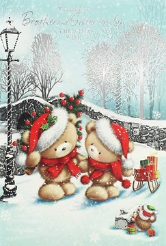 "Brother & Sister-in-Law Christmas Card - Cute Bears, Tree & Sledge 7.5"" x 5.25"""