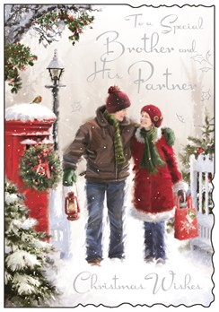 "Jonny Javelin Brother & Partner Christmas Card - Couple & Red Postbox 9"" x 6.25"""