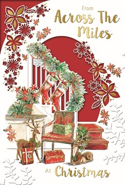 """Across the Miles Christmas Card - Stair Case with Garland Gifts & Foil 9 x 6"""""""