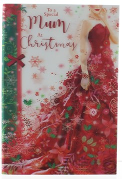 """Special Mum Christmas Card - 3D Animated Holographic Lady In Red Dress 9""""x6"""""""